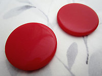 6 pcs. plastic red wafer disk flat back and top cabochons 34mm - f7138