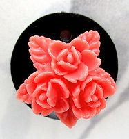 2 pcs. coral celluloid star floral flower on black plastic charms 21mm - f7217