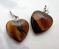 2 pcs. genuine tigers eye heart charms 15x14mm - f7376
