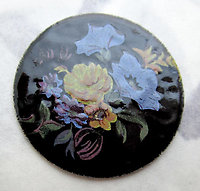 vitreous glass guilloche enamel w floral flower print flat back disk cabochons 26mm - f7501
