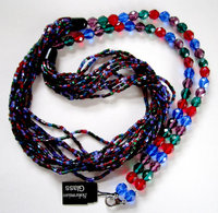 Bohemian Czech glass multi color gem tone multi strand seed and faceted bead necklace -j6009