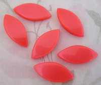 18 pcs. spun nylon thermoset coral orange flat back cabochons 24x11mm - r196