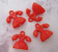 12 pcs. plastic orange telephone charms 22x16mm - r262