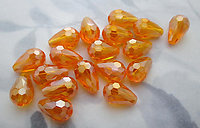 18 pcs. MCC machine cut crystal hyacinth orange faceted tear pear beads 13x8mm - s01