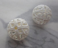 6 pcs. white plastic filigree beads 12mm - s231