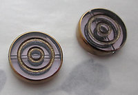 6 pcs. glass pink w gold tone plated concentric circle intaglio beads 16x4mm - s241