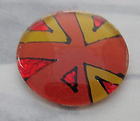 2 pcs. Vintage glass w orange and yellow foil bottom cabochon 19mm - s369