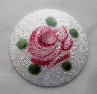 enameled metal domed white guilloche rose flower cabochon 18mm - s379