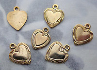 18 pcs. gold tone plated heart charms 10x10mm - s635