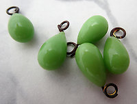 15 pcs. glass green charms 8x6mm - s859